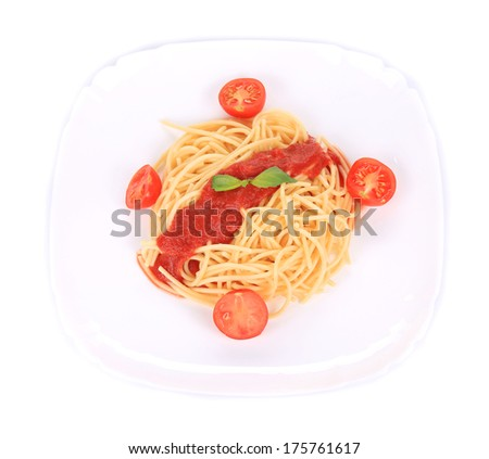 spaghetti with tomato sauce and basil. isolated on a white background