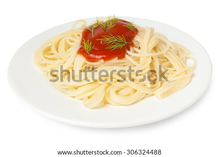 spaghetti with tomato sauce and dill isolated on white background