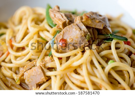 Spaghetti with tuna - stock photo