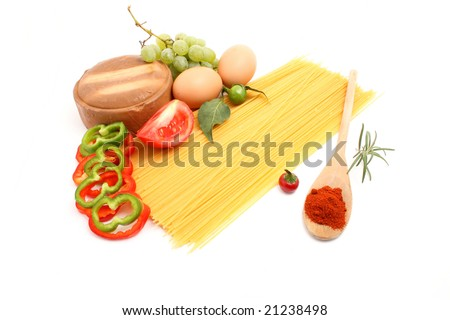 spaghetti with vegetable isolated on white
