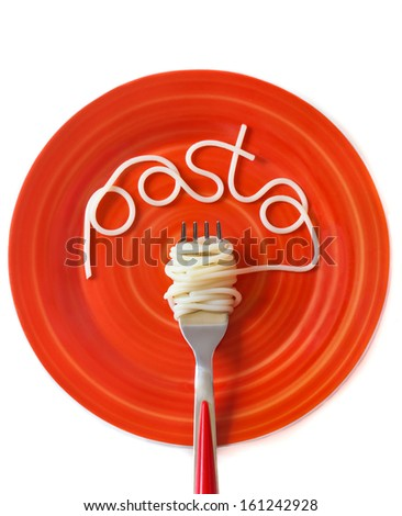 Spaghetti word on a red plate with fork. - stock photo