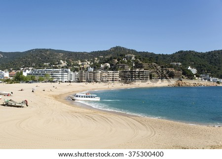 Spain. A beach in the resort Tossa de Mar.