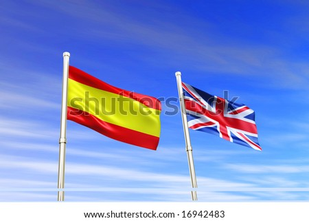 Spain and  britain flag in the wind