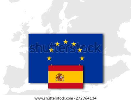 Spain and European Union Flag with Europe map background - stock photo