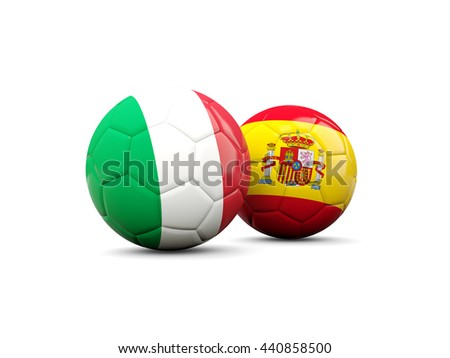 Spain and Italy soccer balls isolated on white. 3D illustration