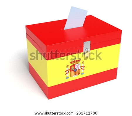 Spain ballot box with Spanish Flag. Isolated on white background. - stock photo