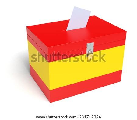 Spain ballot box with Spanish Flag. Isolated on white background. - stock photo
