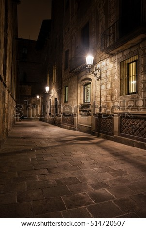 Spain, Barcelona, Gothic Quarter (Barri Gotic), Old Town, narrow street at night, historic city centre