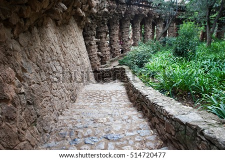 Spain, Barcelona, Park Guell, stairs and garden (public part outside of Monumental Zone)