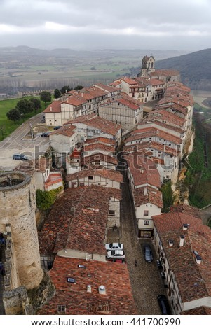 Spain burgos frias view from the castle tower in Europe - stock photo