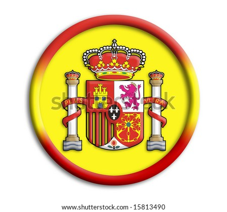 Spain button shield on white background - stock photo