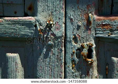 spain canarias brass brown knocker in a green closed wood  door  lanzarote abstract   - stock photo
