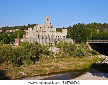 Spain, Catalonia, Barcelona Province, View of the Les Fonts Castle.