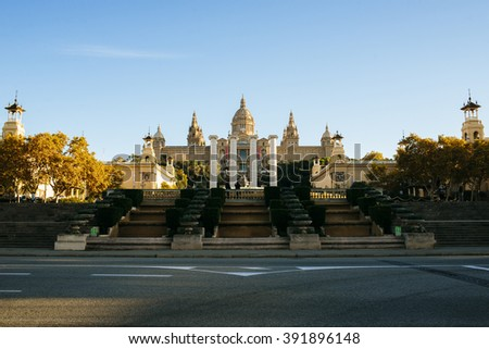 Spain, Catalonia, Barcelona, Royal Palace and the four columns of Puig i Cadafalch. - stock photo