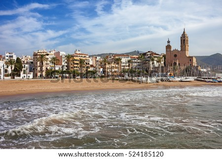 Spain, Catalonia, Sitges, town at Mediterranean Sea, Church of St. Bartholomew and St. Tecla on the right