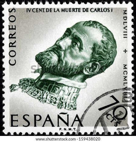 SPAIN - CIRCA 1958: a stamp printed by SPAIN shows image portrait of Charles V, Holy Roman Emperor, Carlos I of Spain, 400th Anniversary of the Death of Charles V, circa 1958.