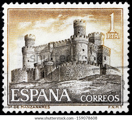 SPAIN - CIRCA 1966: a stamp printed by SPAIN, shows view of the Castle Manzanares in Manzanares el Real town at the northern area of the autonomous Community of Madrid, circa 1966. - stock photo