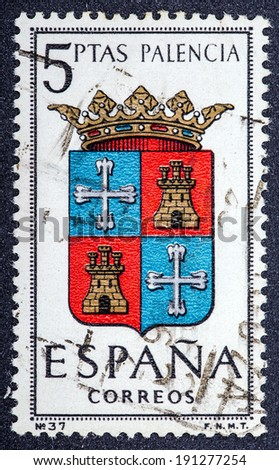 SPAIN - CIRCA 1965: A stamp printed in Spain dedicated to Arms of Provincial Capitals shows Palencia, circa 1965.