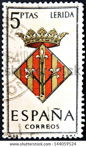 SPAIN - CIRCA 1965: A stamp printed in Spain dedicated to Arms of Provincial Capitals shows Lerida, circa 1965.