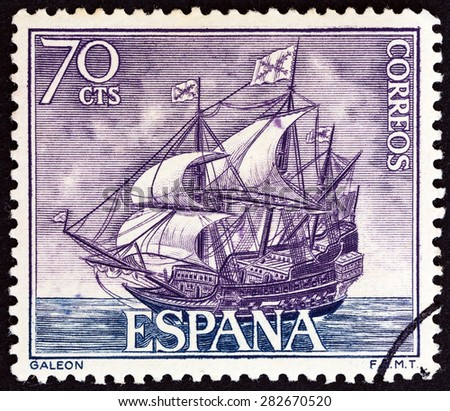 """SPAIN - CIRCA 1964: A stamp printed in Spain from the """"Spanish Navy Commemoration. Ships"""" issue shows Galleon, circa 1964. - stock photo"""