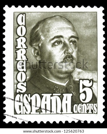 "SPAIN - CIRCA 1948: A stamp printed in Spain shows a portrait of General Francisco Franco (1892-1975) without inscription, from the series ""Francisco Franco"", circa 1948."