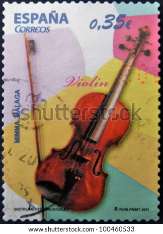 SPAIN - CIRCA 2011: A stamp printed in Spain shows a violin, circa 2011