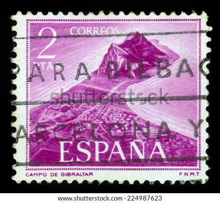 Spain - CIRCA 1969: A stamp printed in Spain, shows aerial view of Gibraltar, circa 1969