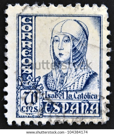 SPAIN - CIRCA 1965: A stamp printed in Spain shows image of Isabella I of Castile, former Queen of Castile and Leon, circa 1965
