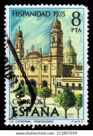 Spain - CIRCA 1975: a stamp printed in Spain shows Montevideo Cathedral (Uruguay), series Hispanidad, circa 1975 - stock photo
