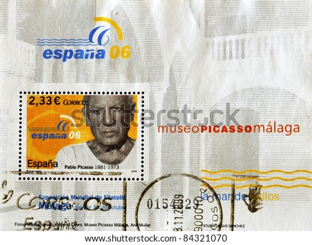 SPAIN - CIRCA 2006: A stamp printed in Spain shows Pablo Picasso, circa 2006 - stock photo