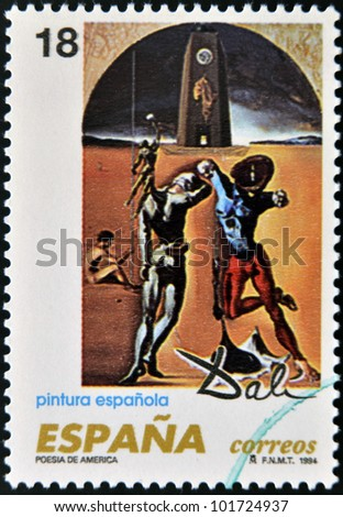 "SPAIN - CIRCA 1994: A stamp printed in Spain shows ""Poetry of America"" by Salvador Dali, circa 1994"