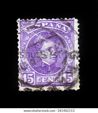 Spain - CIRCA 1905: A stamp printed in Spain shows portrait of King Alfonso XIII in his youth, circa 1905