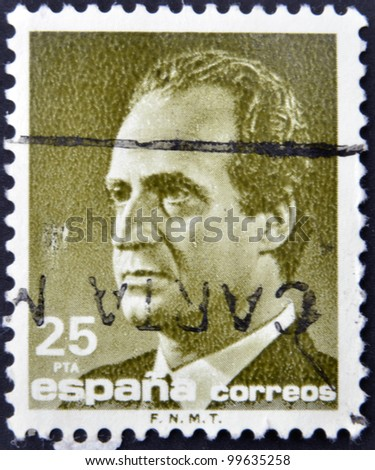 SPAIN-CIRCA 1977: A stamp printed in Spain shows the King of Spain Juan Carlos I, circa 1977