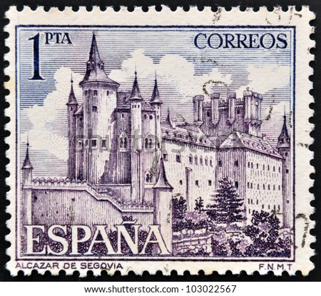 SPAIN - CIRCA 1964: a stamp printed in the Spain shows Alcazar of Segovia, Spain, circa 1964