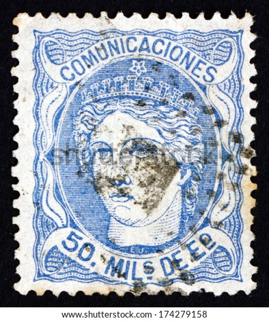 SPAIN - CIRCA 1870: a stamp printed in the Spain shows Allegory of Hispania, National Personification of Spain, circa 1870