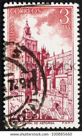 SPAIN - CIRCA 1971: a stamp printed in the Spain shows Astorga Cathedral, Spain, circa 1971