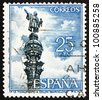 SPAIN - CIRCA 1965: a stamp printed in the Spain shows Columbus Monument, Barcelona, Christopher Columbus, Cristobal Colon, Explorer, Colonizer, Navigator, circa 1965 - stock photo