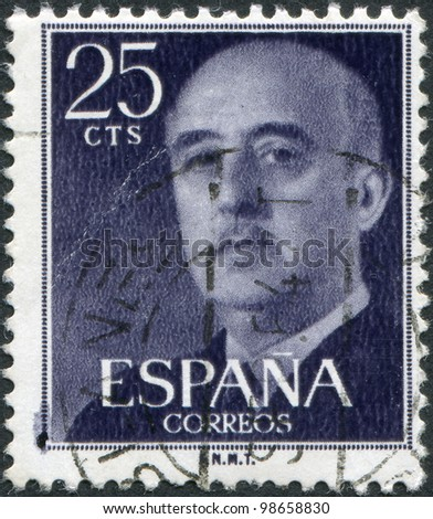 SPAIN-CIRCA 1955: A stamp printed in the Spain, shows Gen. Francisco Franco, circa 1955