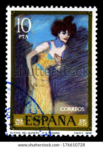 "SPAIN CIRCA 1978. A stamps printed in Spain shows a canvas image "" El final del numero"" by Pablo Ruiz Picasso - stock photo"