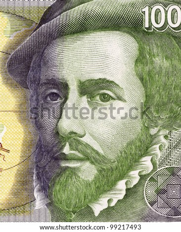 SPAIN - CIRCA 1992: Hernan Cortes (1485-1547) on 1000 Pesetas 1992 Banknote From Spain. Spanish Conquistador who led an expedition that caused the fall of the Aztec Empire.