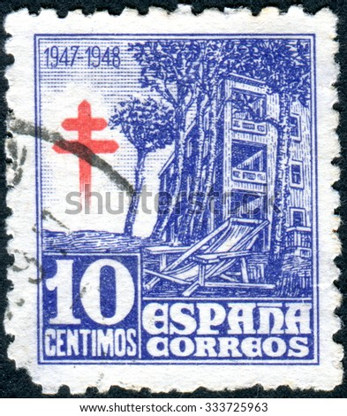 SPAIN - CIRCA 1946: Postage stamp printed in Spain, Tuberculosis Fund Issues, show Tuberculosis Sanatorium, circa 1946