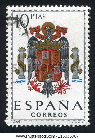 SPAIN - CIRCA 1962: stamp printed by Spain, shows Arms of Spain, circa 1962.