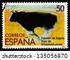 SPAIN - CIRCA 1988: stamp printed by Spain, shows Bull, circa 1988 - stock photo