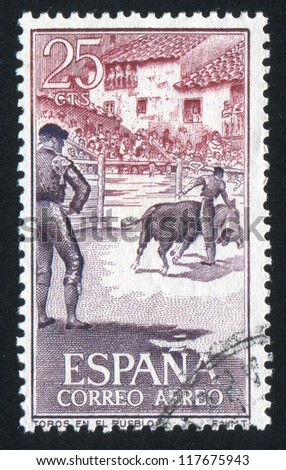 SPAIN - CIRCA 1960: stamp printed by Spain, shows Bullfighter, Corrida, circa 1960