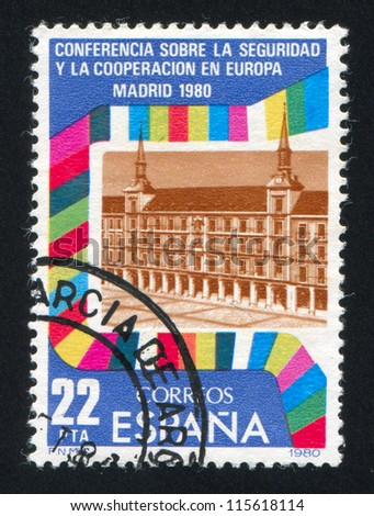 SPAIN - CIRCA 1980: stamp printed by Spain, shows Conference Building, Flags of Participants, circa 1980
