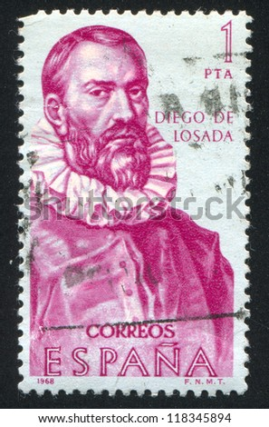 SPAIN - CIRCA 1968: stamp printed by Spain, shows Diego de Losada, circa 1968