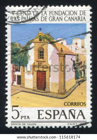 SPAIN - CIRCA 1978: stamp printed by Spain, shows Hermitage of Columbus Church, circa 1978