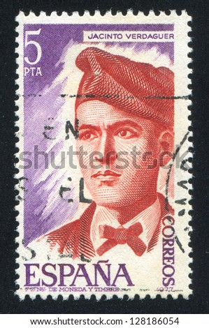SPAIN - CIRCA 1977: stamp printed by Spain, shows Jacinto Verdaguer, circa 1977