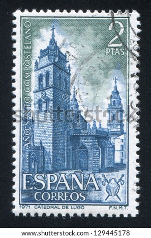SPAIN - CIRCA 1971: stamp printed by Spain, shows Lugo Cathedral, circa 1971