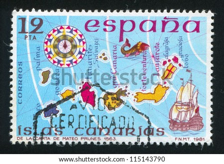 SPAIN - CIRCA 1981: stamp printed by Spain, shows Map of Islands Canary, circa 1981 - stock photo